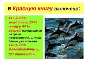 В Красную книгу включено: 115 видов животных, 25 % птиц и 44 % зверей, находя