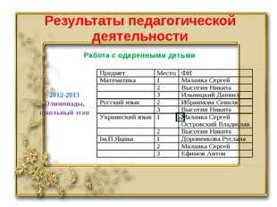 Результаты педагогической деятельности Работа с одаренными детьми 2012-2013 О