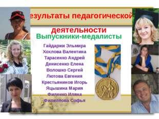 Результаты педагогической деятельности Выпускники-медалисты Гайдаржи Эльмира