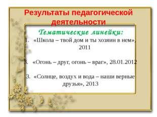 Результаты педагогической деятельности Тематические линейки: «Школа – твой до