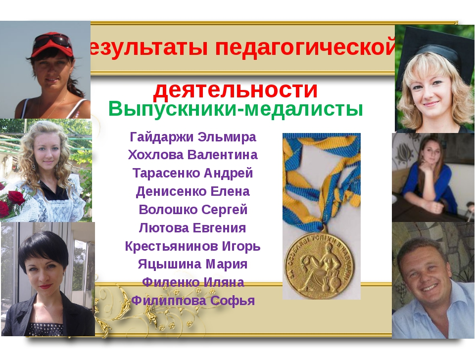 Результаты педагогической деятельности Выпускники-медалисты Гайдаржи Эльмира...