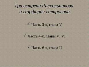 Три встречи Раскольникова и Порфирия Петровича Часть 3-я, глава V Часть 4-я,