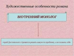 Художественные особенности романа ВНУТРЕННИЙ МОНОЛОГ герой Достоевского стрем