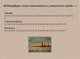 «В Петербурге, самом отвлеченном и умышленном городе…» Пейзажи ч. 1 гл. 1; ч.