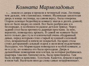 Комната Мармеладовых «… вошли со двора и прошли в четвертый этаж. Лестница че