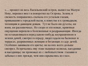 «… прошел он весь Васильевский остров, вышел на Малую Неву, перешел мост и по