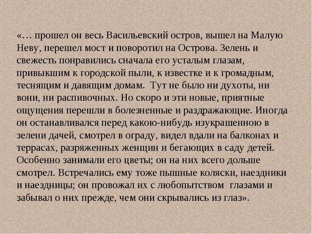 «… прошел он весь Васильевский остров, вышел на Малую Неву, перешел мост и по...