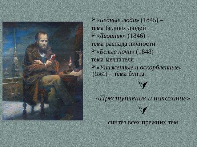 «Бедные люди» (1845) – тема бедных людей «Двойник» (1846) – тема распада личн...