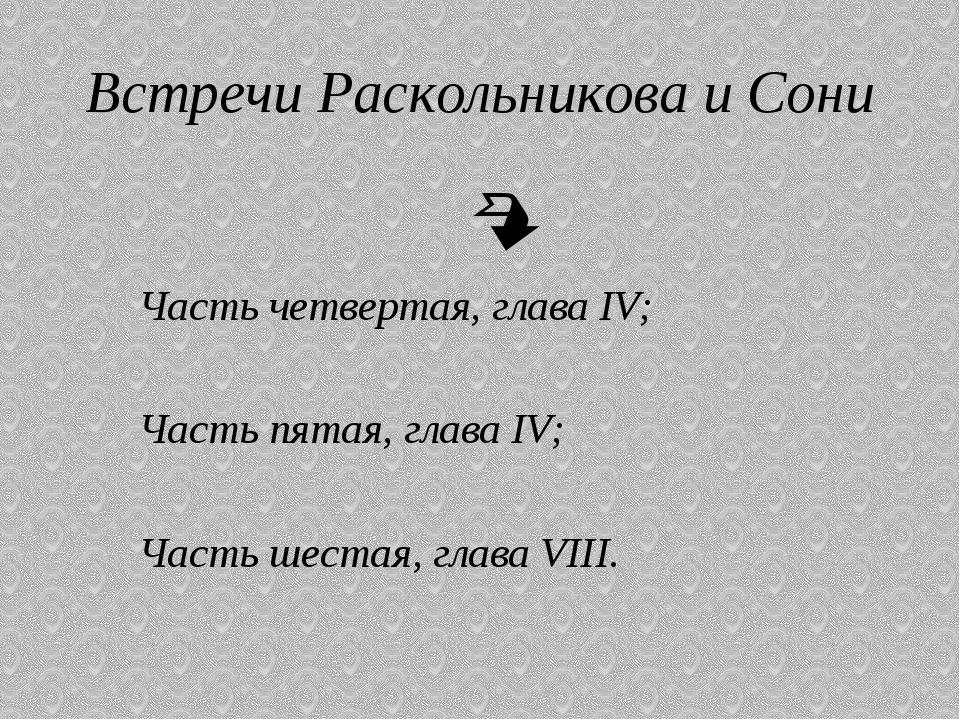 Встречи Раскольникова и Сони  Часть четвертая, глава IV; Часть пятая, глава...