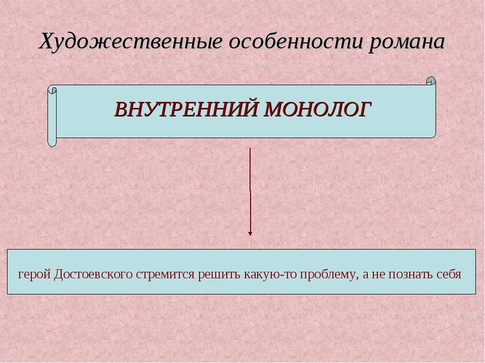Художественные особенности романа ВНУТРЕННИЙ МОНОЛОГ герой Достоевского стрем...