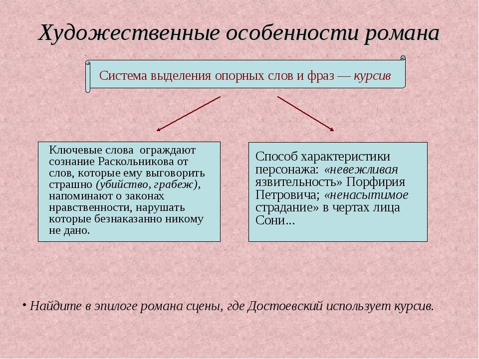 Художественные особенности романа Найдите в эпилоге романа сцены, где Достоев...