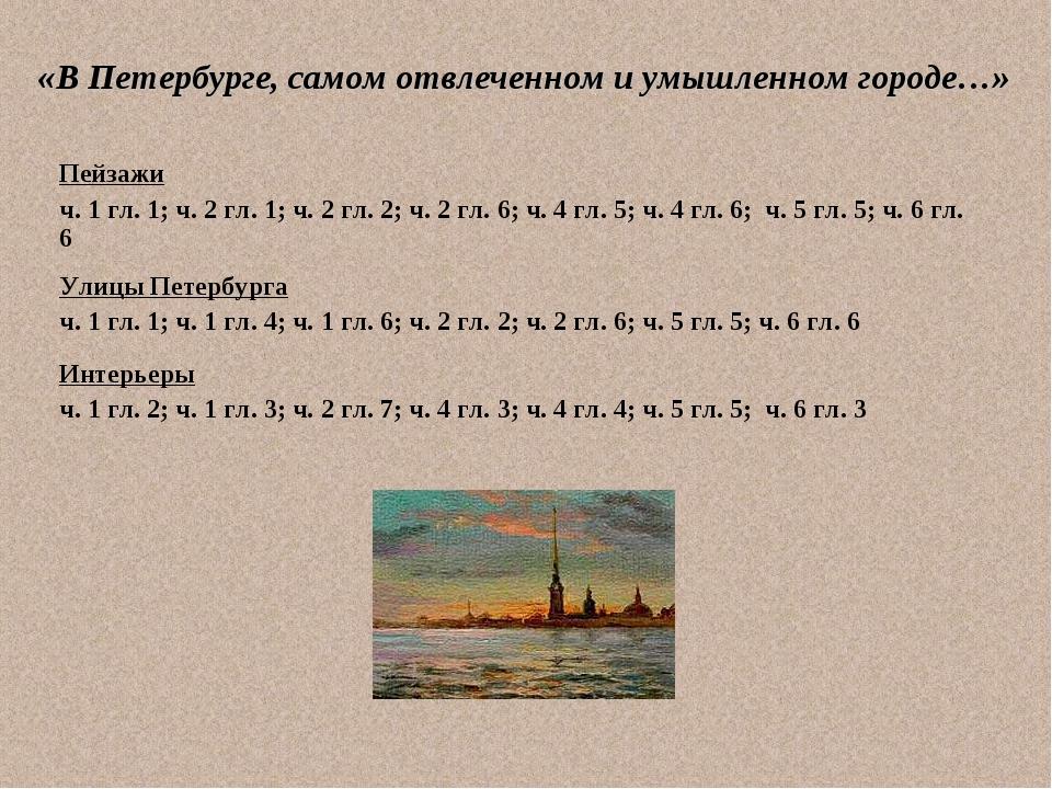 «В Петербурге, самом отвлеченном и умышленном городе…» Пейзажи ч. 1 гл. 1; ч....