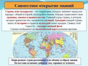 Совместное открытие знаний Страна, или государство – это территория, которую