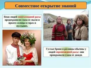 Совместное открытие знаний Веки людей монголоидной расы предохраняли глаза от