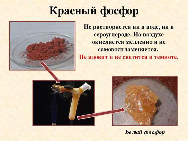 Красный фосфор Не растворяется ни в воде, ни в сероуглероде. На воздухе окисл...