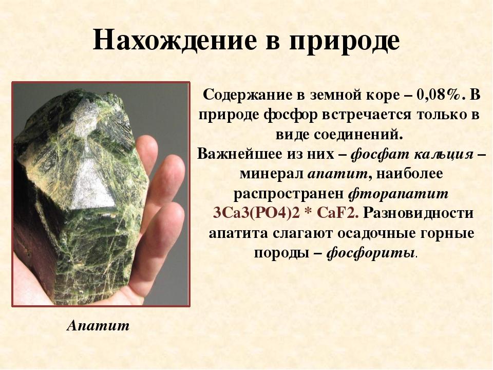 Нахождение в природе Содержание в земной коре – 0,08%. В природе фосфор встре...