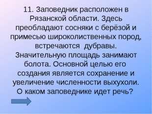 11. Заповедник расположен в Рязанской области. Здесь преобладают сосняки с бе