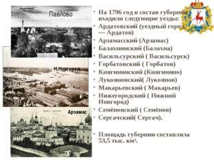 На 1796 год в состав губернии входили следующиеуезды: Ардатовский(уездный г
