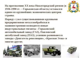На протяжении XX века Нижегородский регион (в 1936-1990 гг. – Горьковская обл