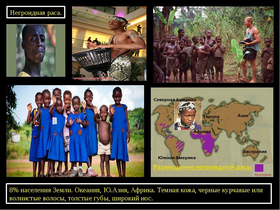 Негроидная раса. 8% населения Земли. Океания, Ю.Азия, Африка. Темная кожа, че...