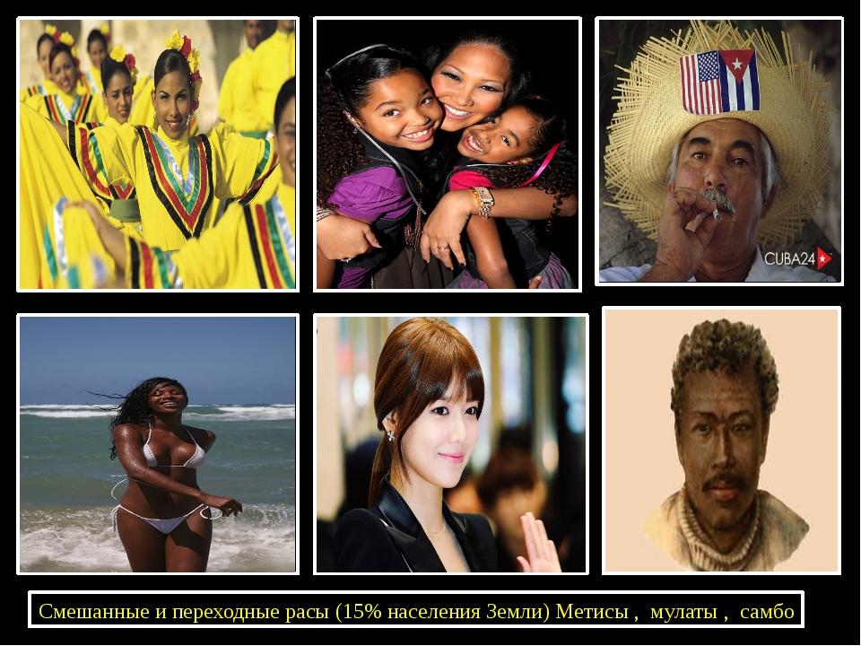 Смешанные и переходные расы (15% населения Земли) Метисы , мулаты , самбо