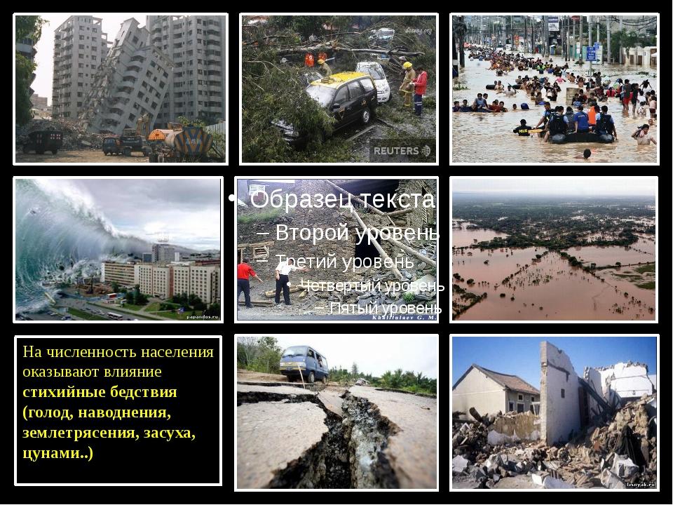 На численность населения оказывают влияние стихийные бедствия (голод, наводн...
