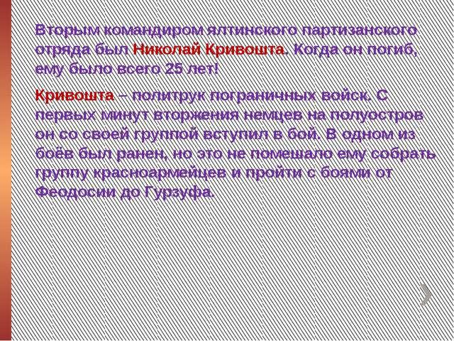 Вторым командиром ялтинского партизанского отряда был Николай Кривошта. Когд...
