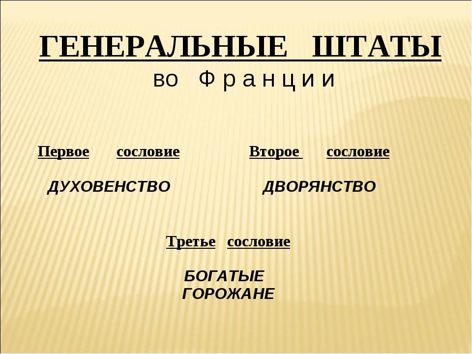 ГЕНЕРАЛЬНЫЕ ШТАТЫ во Ф р а н ц и и Первое сословие ДУХОВЕНСТВО Второе сосло...