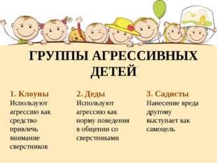 ГРУППЫ АГРЕССИВНЫХ ДЕТЕЙ 1. Клоуны Используют агрессию как средство привлечь
