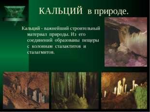 КАЛЬЦИЙ в природе. Кальций - важнейший строительный материал природы. Из его
