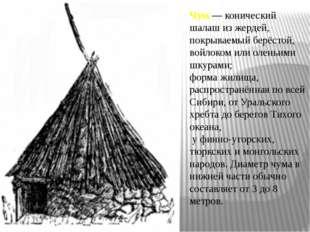 Чум — конический шалаш из жердей, покрываемый берёстой, войлоком или оленьими