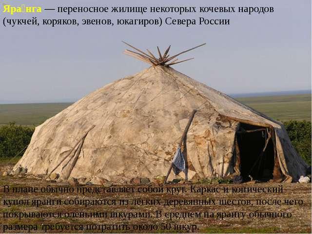 Яра́нга— переносное жилище некоторых кочевых народов (чукчей, коряков, эвено...