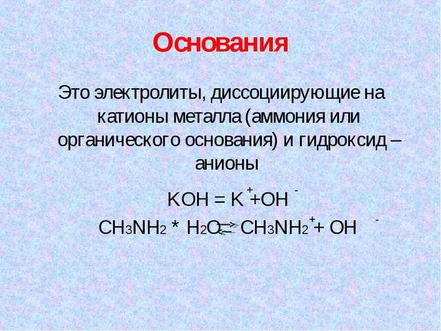 Основания Это электролиты, диссоциирующие на катионы металла (аммония или орг...
