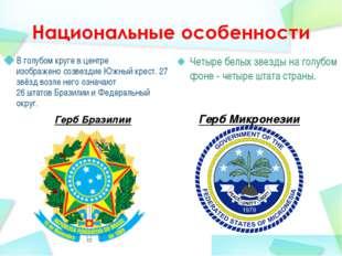 Герб Бразилии В голубом круге в центре изображеносозвездиеЮжный крест. 27 з