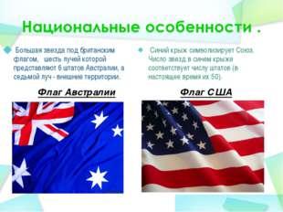 Флаг Австралии Большая звезда под британским флагом,  шесть лучей которой п