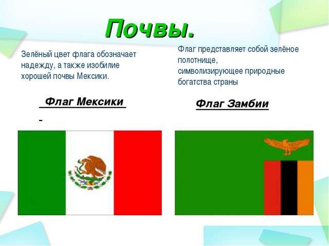 Зелёный цвет флага обозначает надежду, а также изобилие хорошей почвы Мексики...