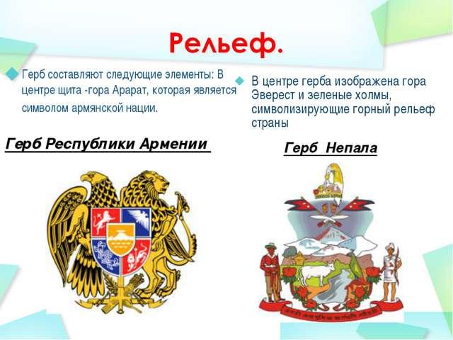 Герб Рeспублики Армeнии Герб составляют следующие элементы: В центре щита -г...