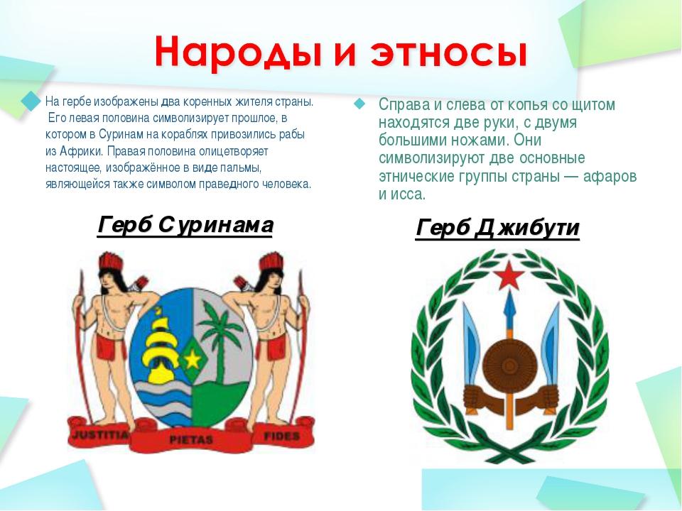 Герб Суринама На гербе изображены два коренных жителя страны. Его левая поло...