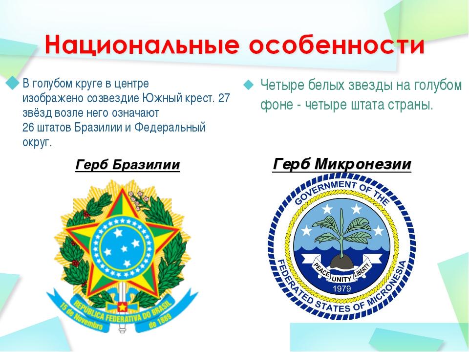 Герб Бразилии В голубом круге в центре изображеносозвездиеЮжный крест. 27 з...