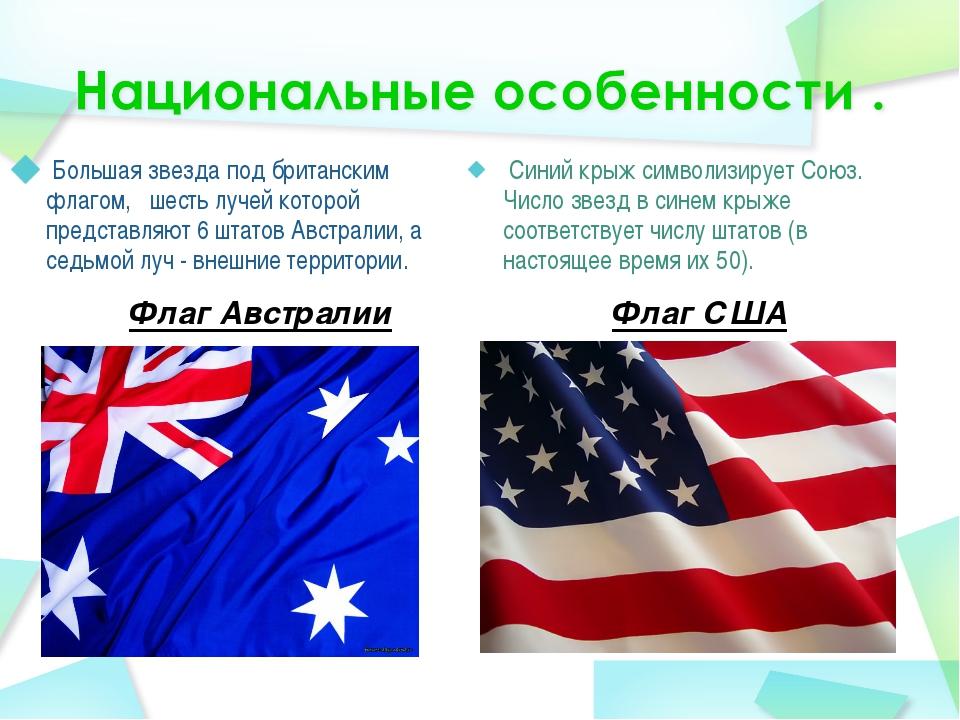 Флаг Австралии Большая звезда под британским флагом,  шесть лучей которой п...