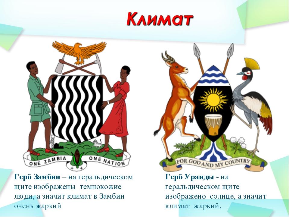 Герб Замбии – на геральдическом щите изображены темнокожие люди, а значит кли...
