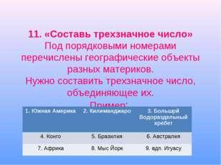 11. «Составь трехзначное число» Под порядковыми номерами перечислены географи