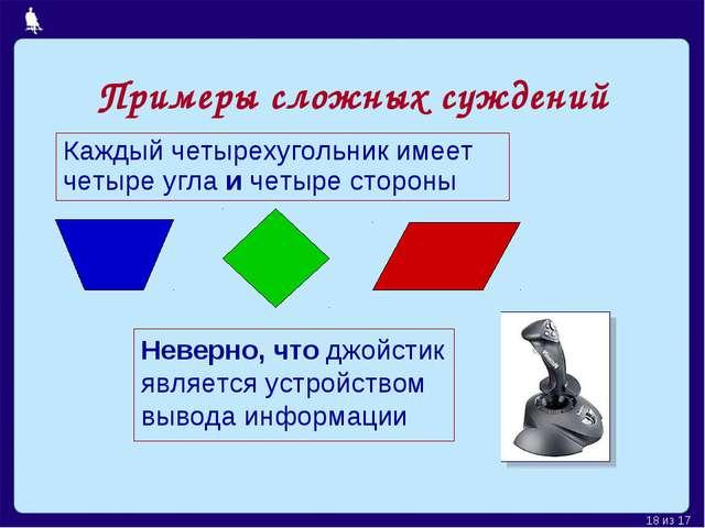 * из 17 Каждый четырехугольник имеет четыре угла и четыре стороны Неверно, чт...