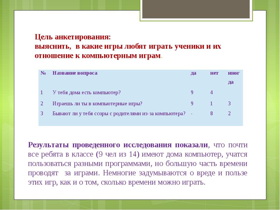 Цель анкетирования: выяснить, в какие игры любят играть ученики и их отношени...