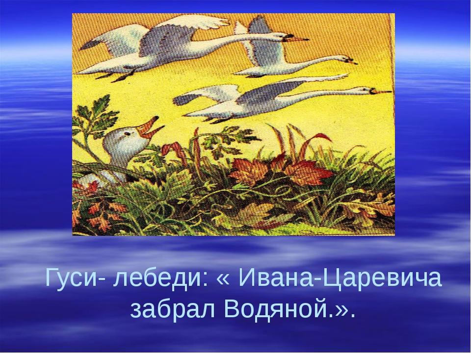 Гуси- лебеди: « Ивана-Царевича забрал Водяной.».