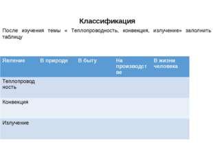 Классификация После изучения темы « Теплопроводность, конвекция, излучение»