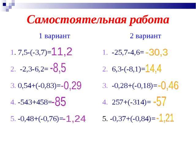 Самостоятельная работа 1 вариант2 вариант 1. 7,5-(-3,7)=1. -25,7-4,6= 2. -2...