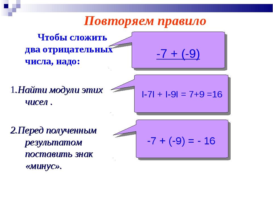 Чтобы сложить два отрицательных числа, надо: 1.Найти модули этих чисел . 2....