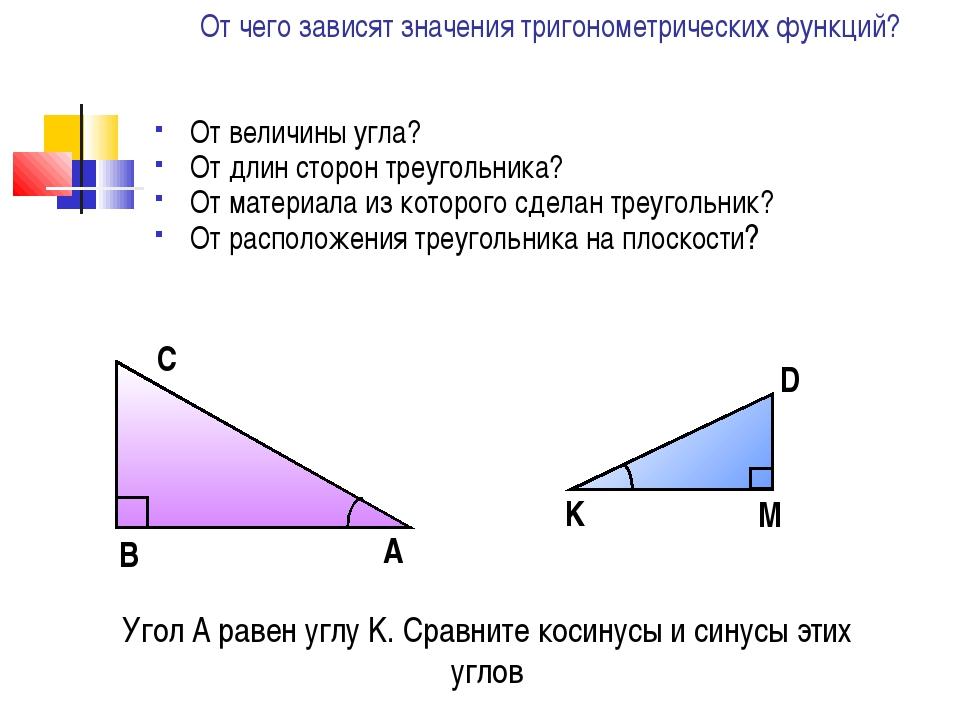 Угол A равен углу K. Сравните косинусы и синусы этих углов От чего зависят зн...