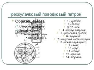 Трехкулачковый поводковый патрон 1 - кулачок; 2 - палец; 3, 12 - оси; 4 - кор